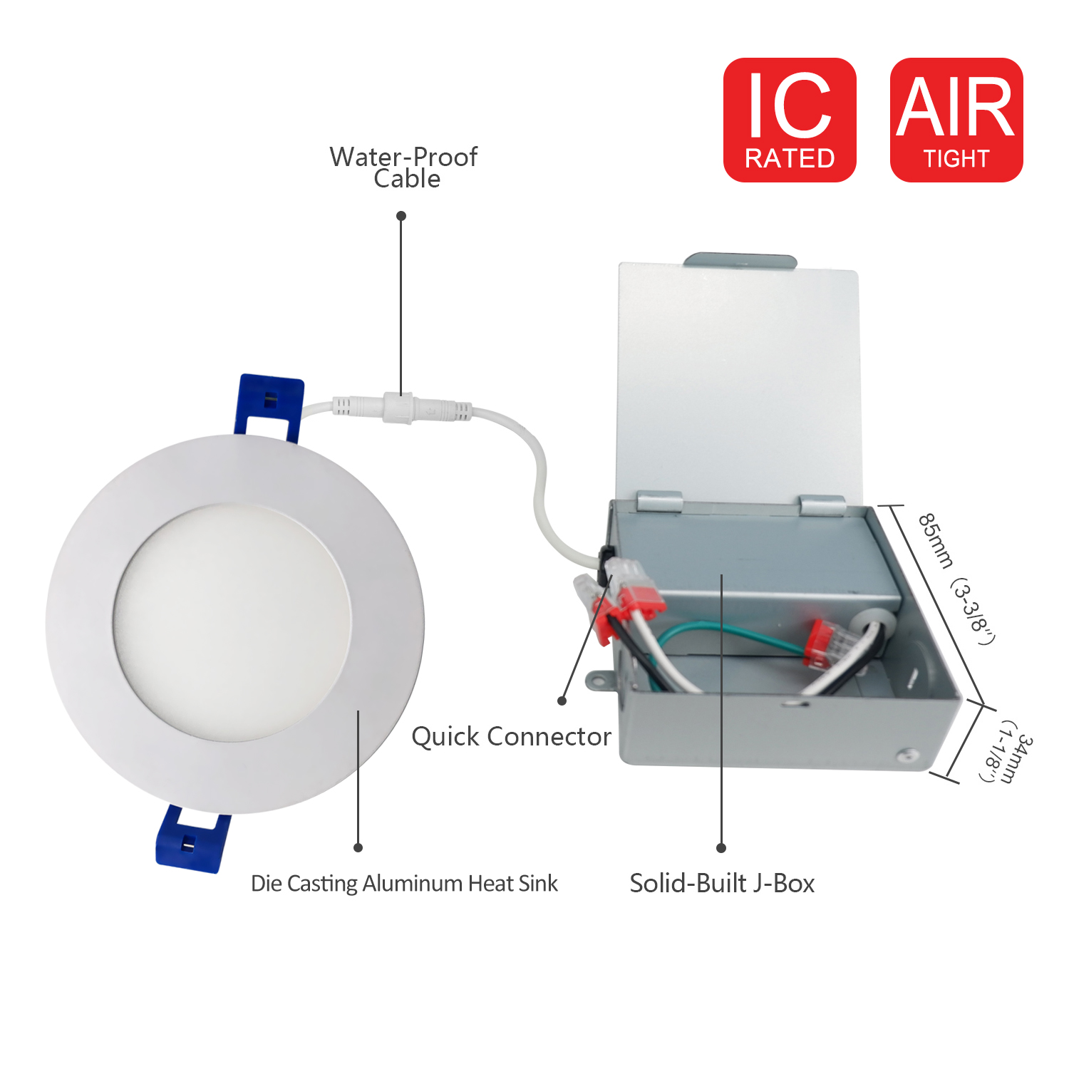 JULLISON LED Recessed Low Profile Slim Panel Light with Junction Box Air Tight,